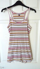 Fat Face rainbow stripe fitted vest top - New ! Womens 8