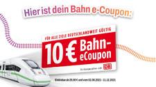 DB Deutsche Bahn e Coupon 10€ (Gutschein) für Tickets ab 29,90€ (bis 11.12.2021)