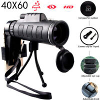 High Power 40X60 HD Monocular Telescope Night Vision Outdoor + Phone Clip Tripod
