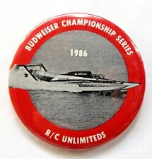 1986 BUDWEISER CHAMPIONSHIP SERIES R/C Unlimiteds pinback button Hydroplane c3