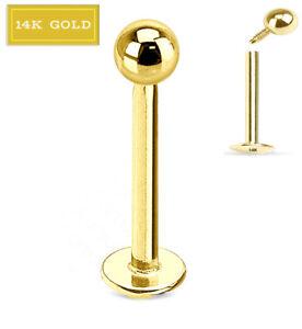 14K SOLID GOLD 16G INTERNALLY THREADED 3MM BALL LIP LABRET EAR TRAGUS STUD RING