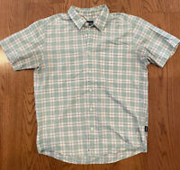 Patagonia Men's Plaid Green Short Sleeve Button Up Shirt Size M Organic Cotton