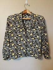 Vintage Notations Blouse Top Braided Trim Button Front Rope Print Black Gold 10