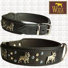 WOZA Premium French Bulldog Collar Full Leather Padded Genuine Cow Napa  HM231