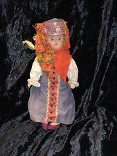 "12"" antique Russian Terra Cotta bisque head compo Doll in original costume TLC"