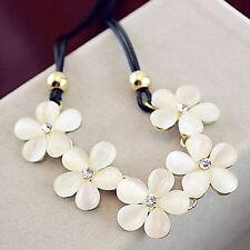 Women Fashion Crystal Flower Charm Choker Chunky Statement Bib Chain Necklace