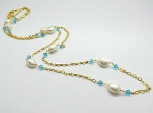 22K Gold Necklace Pearl Blue Topaz Quartz Beaded Chain Necklace 30 Inch Long