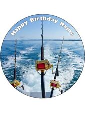 Fishing Rods 19cm Edible Icing Cake Topper Birthday Party Decoration