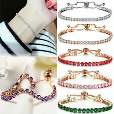 Fashion CZ Zircon Rhinestone Crystal Bracelet Adjustable Bangle Jewelry Gifts