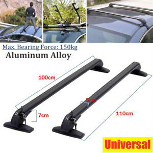 2PCS Universal Car SUV Roof Rail Luggage Rack Baggage Carrier CNC Aluminum Alloy