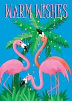 Pink Flamingo Christmas Holiday Boxed Greeting Cards 16 Ct Tropical NEW Sparkly