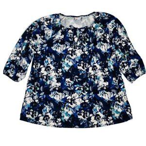 LuLaRoe DEBRA Blue White Teal Grey Floral Flowers Peasant Top Blouse 2XL