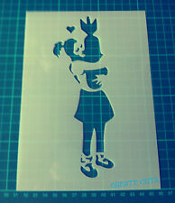 """Banksy Girl Hugging Bomb Large STENCIL Size 44.1""""x16.4"""" Wall art Painting"""