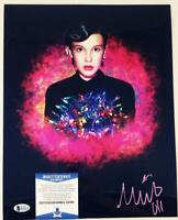 MILLIE BOBBY BROWN 11 SIGNED 11X14 METALLIC PHOTO STRANGER THINGS BAS COA 691
