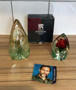 Two Art  glass Paperweights - 1 Boxed Signed Matt Jonasson Sweden glass -Flowers
