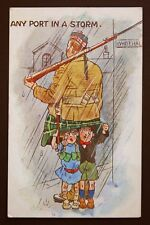 WW1 Postcard Scottish Soldier Kilt Rifle Fixed Bayonet Grosmont Yorkshire 1917