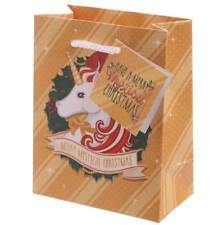 Unicorn Christmas Gift Bag (small) Gold, Unicorn Theme, Girls Gift Bag