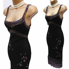 Karen Millen Noir Perlé Gatsby Garçonne style vintage années 20 robe de soirée sz1 8/10