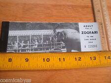 San Diego Zoo 1960's VINTAGE ticket booklet sky Safari Zoofari