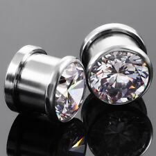 Big Crystal Ear Tunnel Plug Ear Expander Gauge Silver Punk Steel Stretcher PAIR