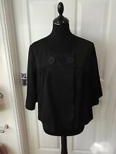 Size 14 Black Jacket by F&F Smart Wet Look Swing Short Length Button Front