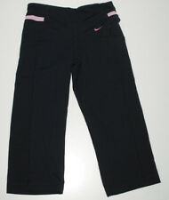Nike Capri Leggings Pants Dri Fit Womens XS 0-2 Nylon Spandex Black Pink Logo