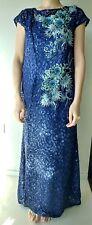 Elegant navy blue evening gown sequin A-line round neck cap sleeve long dress