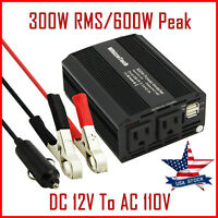 300W Car Power Inverter DC 12V To AC 110V 60Hz Dual USB 2.1A 5V Charger Adapter