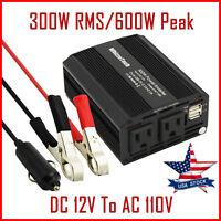 300W Car Power Inverter DC 12V To AC 110V 60Hz Dual USB 2.1A 5V Charger Adapter
