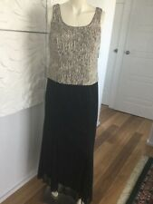 14w 16/18 EVENING GOWN BLACK CHIFFON DRESS ATTACHED SPARKLY OVERLAY FORMAL
