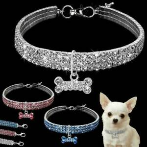 Dog Accessories Pet Collar Puppy Necklace Bling Rhinestone Stretchy Choker Xmas!