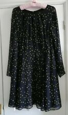 Coast Black Dress with White Yellow Navy Dots Size 16 Flattering Perfect Cond