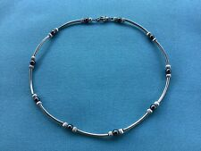 STERLING SILVER CURVED TUBES, FLUTED 4MM BEADS & HEMATITE BEADS W/ LOBSTER CLASP