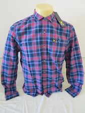 """LYLE & SCOOT VINTAGE PLAID  CHECK SHIRT NAVY PINK PURLE M LONG SLEEVE NEW 39.2"""""""