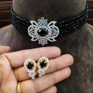 AD Indian Bollywood Gold Tone Black Kundan Choker Necklace Bridal Jewelry CZ Set