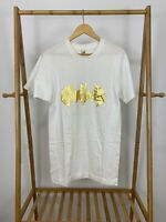 VTG Screen Stars Gold Batman Logo Short Sleeve White T-Shirt Size L USA