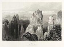 RATHEN - BASTEI MIT BASTEIBRÜCKE - Payne - Stahlstich 1848