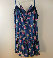 Abercrombie & Fitch Blue Floral Sleeveless Romper Jumper Pockets Size Small Z32