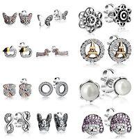 Pearl Zircon Ear Stud Earrings Animal Eiffel Tower Theme 925 Silver Jewelry Gift