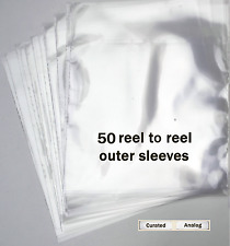 "50-Pack 3 mil. Snug fit 7"" Reel to Reel Tape Box Sleeves ~Archival Crystal Clear"