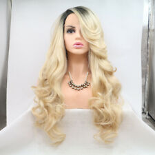 Blonde Lace Front Wig Long Wave Synthetic Ombre Fibre Hair Side Part For Women
