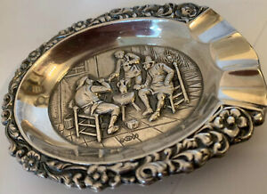 Old Dutch Repousse Bar Scene  Silver Plate Ashtray