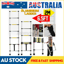 2M 6.5Ft Telescope Telescopic Extension Ladder Step Aluminium Industrial