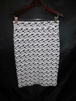 Gilli M Black White Geometric Knit Skirt Straight Above Knee Cotton Md