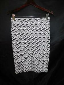 Gilli M Black White Geometric Knit Skirt Straight Above Knee Cotton Md