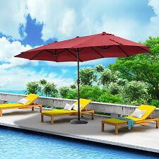15FT Patio Umbrella Parasol Twin Canopy Offset Garden Sunshade w/ Crank Wine Red
