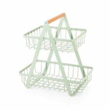 More details for 2 tier storage rack pastel mint green fruit veg basket countertop basket stand
