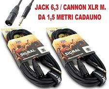 COPPIA CAVI AUDIO JACK 6,3 M. + CANNON XLR M. PROFESSIONALI casse mixer NEW