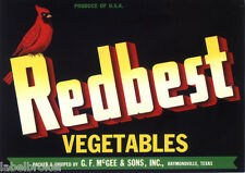 CRATE LABEL VINTAGE RARE RAYMONDVILLE TEXAS REDBEST REDBREAST CARDINAL 1940S