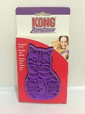 Kong ZOOM GROOM Rubber Wet or Dry Massaging Brush Reduce Shedding For Cats CZG